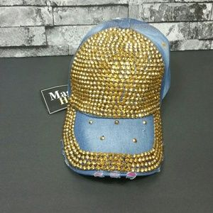 Women's Rhinestone/Studs Denim Hat Gold Accents